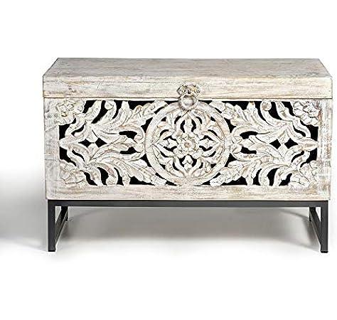 GINER Y COLOMER Baúles Decorativos - Baúl Madera Mango/Hierro (80x40x50): Amazon.es: Hogar