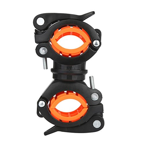 Fabal Torch Clip Mount Bicycle Front Light Bracket Flashlight Holder 360°Rotation (Orange)