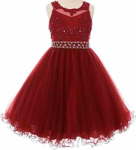 a8c5b6db3 Dreamer P Little Girls See Through Waistline Lace Flowers Girls Dresses
