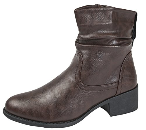 Lora Dora Womens Comfort Low Heel Classic Ankle Boots Faux Leather Zip Or Lace Up Shoes UK 3-8 Zip-Up - Brown PU