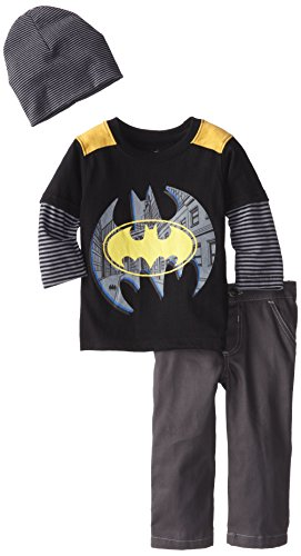 DC Comics CAN Baby Baby Boys' Batman 3 Piece Pant and Beanie Set, Black, 24 Months