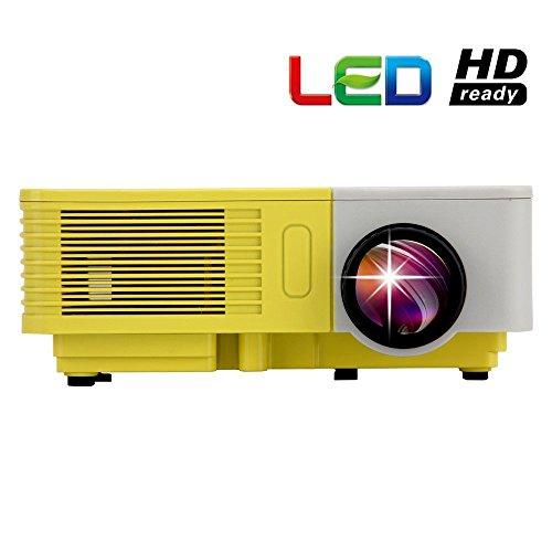 EUG 500D + Mini Projektor Heimkino-Kino LED-Projektor-bewegliches Taschen Multimedia Video Bild System unterstützt 1080p 100 Lumen für Handy & PC Video Beamer Spiele mit USB SD HDMI VGA-Handels TV Hafen