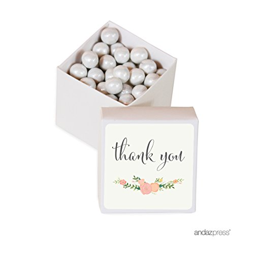 Andaz Press Mini Square Party Favor Box DIY Kit, Thank You, Floral Roses Label with White Box, 20-Pack, For Birthday, Baby Shower, Wedding Party Favors, Decorations ()
