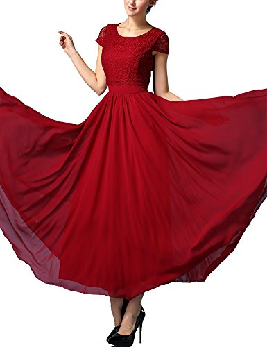 Olrain Women Floral Lace Top Big Swing Chiffon Skirt Maxi Long Dress (14, Wine Red)
