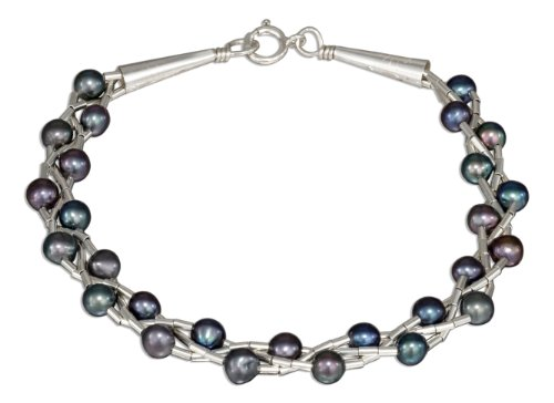 Sterling Silver 7 inch Liquid Silver Gray Fresh Water Cultured Pearl Bracelet