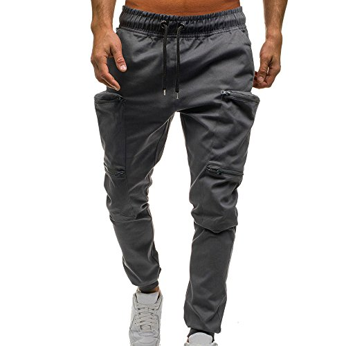 Ratoop Fashion Men's Basic Solid Elastic Waist Zipper Drawstring Jogger Pants Workout Lounge Trousers Pockets Sweatpants (Gray, L3) by Ratoop