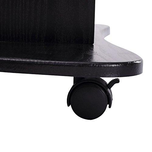 HOMCOM Adjustable Height Laptop Cart with Storage - Black by HOMCOM (Image #7)