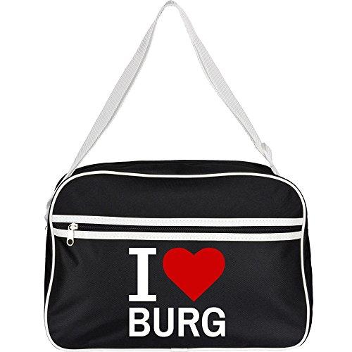 Retrotasche Classic I Love Burg schwarz