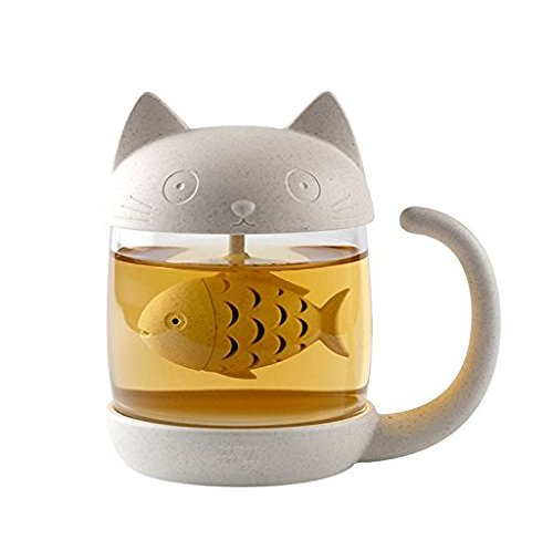 Cute Cat Glass Cup Tea Mug With Fish Tea Infuser Strainer Filter by Jewoster