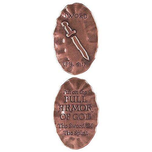 Armor of God Ephesians 6:17 Sword Metal Inspirational Hand Held Pocket (Coin Sword)