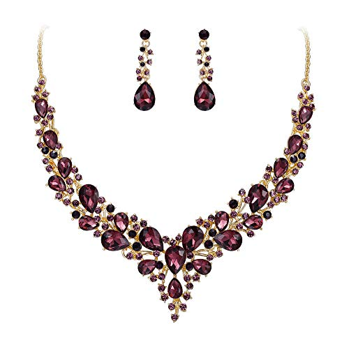 BriLove Wedding Bridal Necklace Earrings Jewelry Set for Women Austrian Crystal Teardrop Cluster Statement Necklace Dangle Earrings Set Deep Amethyst Color Gold-Toned