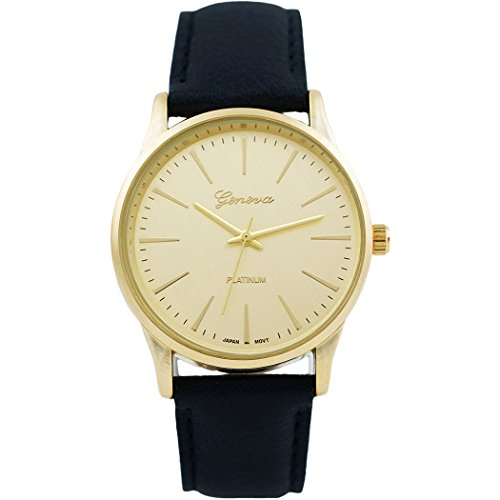 Rosemarie Collections Women's Round Face Vegan Leather Band Large Face Watch (Gold and - Macy's Blanc Mont