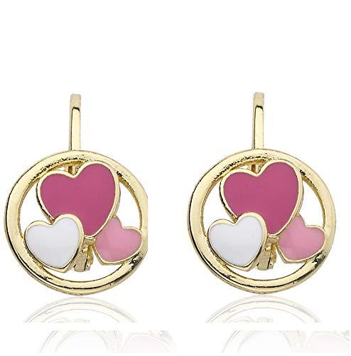 Little Miss Twin Stars Kids Earrings - 14k Gold-Plated Leverback Disk Earring - Hypoallergenic and Nickel Free For Sensitive Ears