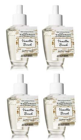 Bath and Body Works 4 Pack Vanilla Birch Wallflowers Fragrances Refill. 0.8 Oz.