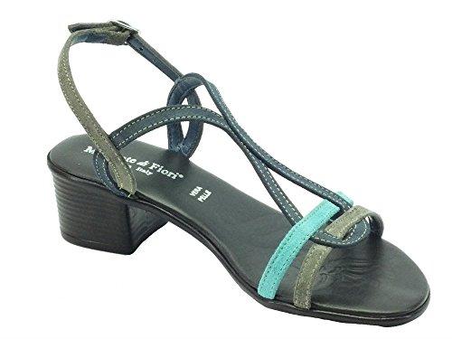 Mercante di Fiori Vmz 44459c Camoscio Blu Multi - Sandalias de vestir de Piel para mujer Blu Multi
