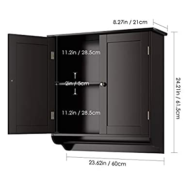 Homfa Bathroom Wall Cabinet, Over The Toilet Space Saver Storage Cabinet Kitchen Medicine Cabinet Doule Door Cupboard with Adjustable Shelf and Towels Bar