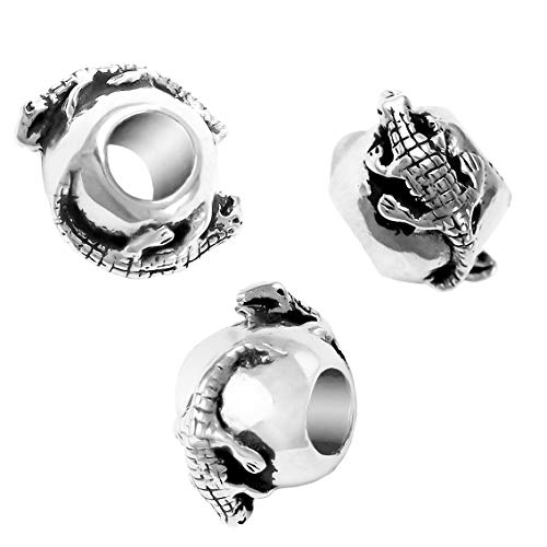 Double Sided Alligator Charm Bead - Solid 925 Sterling Silver - Fits Bracelets like - Charm Sterling Football Silver Jewelry