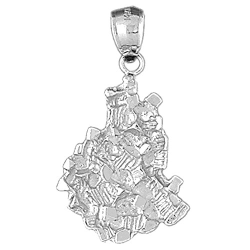 (Jewels Obsession Nugget Pendant | Sterling Silver 925 Nugget Pendant - 36 mm)