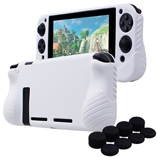 YoRHa Hand Grip No Smell Studded Silicone Cover Skin Case for Switch/NS/NX x 1(White) with Joy-Con Thumb Grips x 8