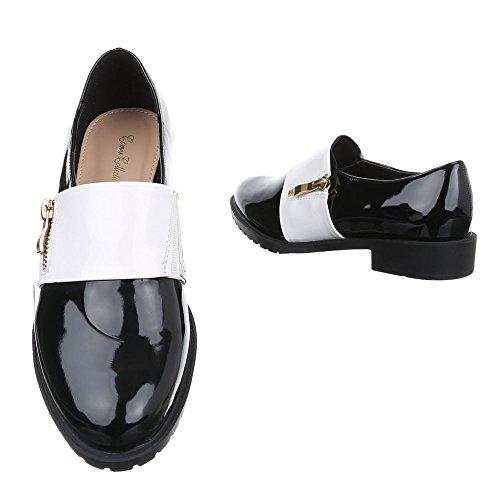 Ital-Design Damen Schuhe Blockabsatz Low-Top Slipper Halbschuhe Blockabsatz Schwarz