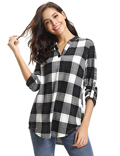 M-anxiu Womens 3/4 Roll Sleeve Shirt Notch Neck Loose Tops Plaid Tunic Blouse(Black&White, XX-Large) -