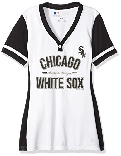 MLB Chicago White Sox Women's Team Name Rugged Competitor Pull Over Color Block Jersey, Small, White/Black (Chicago White Sox Light)