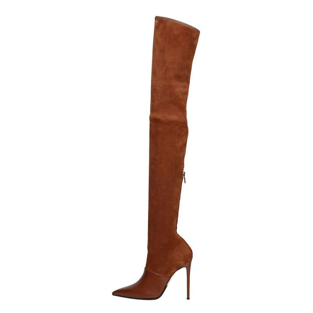 WHL.LL Frauen Oberschenkel Hohe Gummistiefel Seitlicher Reißverschluss Spitze Zehe Schlanker High Heel Über Den Kniestiefeln Hohe Stiefel (Absatzhöhe  15Cm)