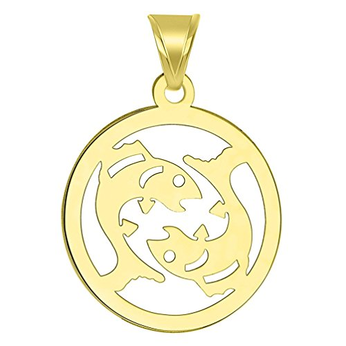 14k Yellow Gold Dainty Round Pisces Zodiac Symbol Cut-Out Fish Pendant