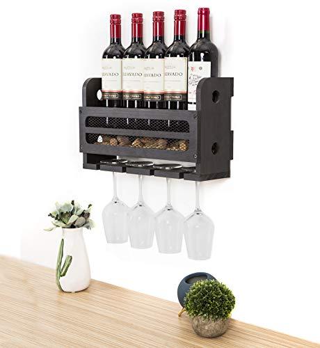 SODUKU Wall Mounted Wooden Wine Rack 5 Wine Bottles and 4 Stem Glasses Holder Wine Cork Storage Rack Espresso