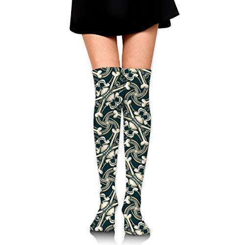 Pirate Skull Plaid Olive, Girl Over Knee Thigh Socks High Stockings 65 Cm/25.6In ()