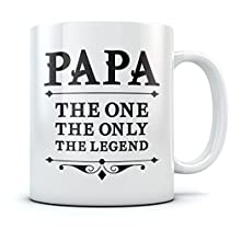 PAPA The One The Only The Legend Coffee Mug Fathers Day Gift for Dad, Grandpa, Birthday/Christmas Present for Fathers, Grandpas from Son, Daughter, Wife, Grandkids, Novelty Ceramic Mug 11 Oz. White