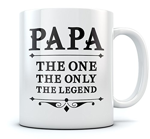 Papa The One The Only The Legend Coffee Mug Gift For Dad Birthday \ Christmas Novelty Ceramic Mug 15 Oz. White