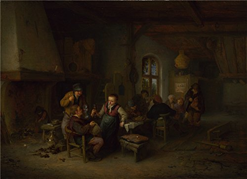 [Oil Painting 'Adriaen Van Ostade - The Interior Of An Inn,1653', 12 x 17 inch / 30 x 42 cm , on High Definition HD canvas prints is for Gifts And Gym, Hallway And Kids Room] (China National Costume Name)