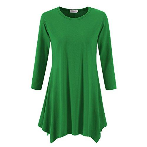 - Topdress Women's Swing Tunic Tops 3/4 Sleeve Loose T-Shirt Dress Green 3X