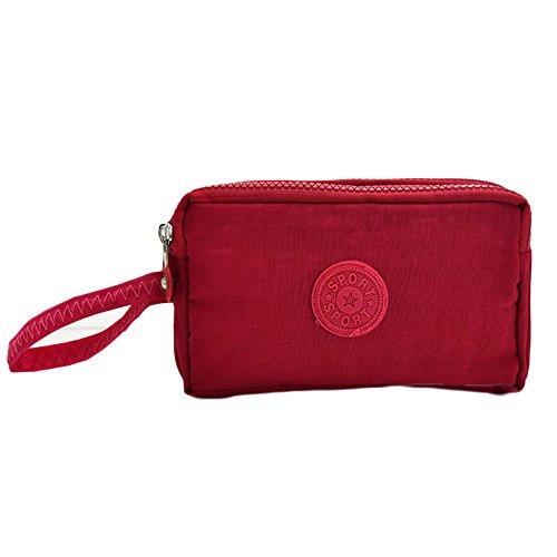Sfit Damen Geldbörse Einfarbig Brieftasche Leinwand Handtasche mit Reißverschluss Große Kapazität Portemonnaie Geldbeutel Wallet Rosa gw6I3Zyc