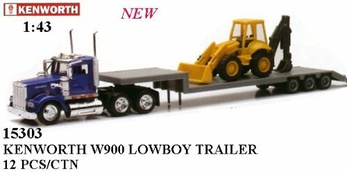 Scale Diecast Tractor 43 (Newray 1:43 Trailer Kenworth W900 with Backhoe Loader 1/43 Scale Replica)