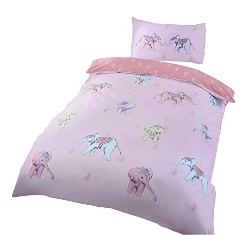 INDIAN ELEPHANTS PAISLEY TEARDROPS PINK COTTON BLEND USA TWIN (COMFORTER COVER 135 X 200 - UK SINGLE) (PLAIN WHITE FITTED SHEET - 91 X 191CM + 25 - UK SINGLE) PLAIN WHITE HOUSEWIFE PILLOWCASES 5 PIECE BEDDING SET
