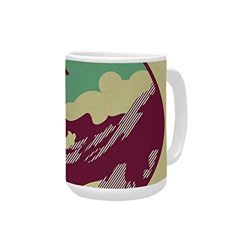 Adventure Ceramic Mug,Journey Mountain Guides Trekking Climbing Camps Tourism Vivid Colorful Art Print for Home,15OZ