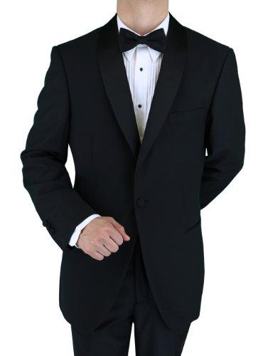Bianco B Men's Black One Button Shawl Lapel Side-Vent Tuxedo (52 Long, Black)