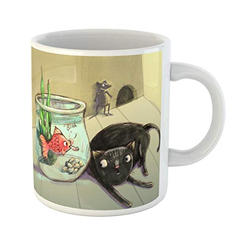 Semtomn Funny Coffee Mug Cheeky Red Fish Teasing Cat Whimsical Mouse Digital Painting 11 Oz Ceramic Coffee Mugs Tea Cup Best Gift Or Souvenir