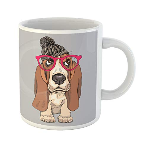 Emvency Funny Coffee Mug Brown Adorable Portrait of Puppy Basset Hound in Knitted Hipster Hat Glasses Amusing 11 Oz Ceramic Coffee Mug Tea Cup Best Gift Or Souvenir