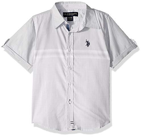 U.S. Polo Assn. Boys' Toddler Short Sleeve Striped Textured Woven Shirt, Light Grey, - Shirt Woven Big