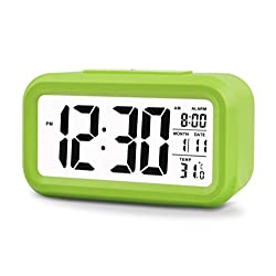 Konigswerk 5.3 Smart, Simple and Silent LCD Digital Alarm Clock w/ Date Display, Repeating Snooze and Sensor Light + Night Light (Green)