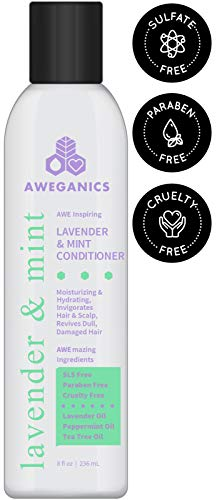 Aweganics Lavender Mint Hair Conditioner - AWE Inspiring Natural Aromatherapy Invigorating Purple Conditioners for Hydrating, Cleansing, Moisturizing, SLS-Free, Paraben-Free, Cruelty-Free - COLOR SAFE