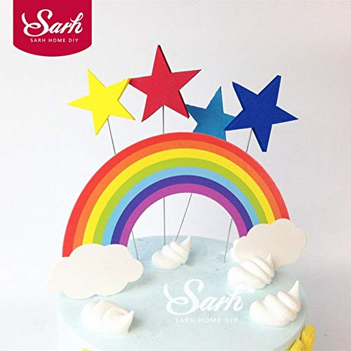 - Ing Supplies 5PCS Rainbow and Clouds Cake Topper Cake Decorations for Wedding Birthday Party Cute Lovely Gifts