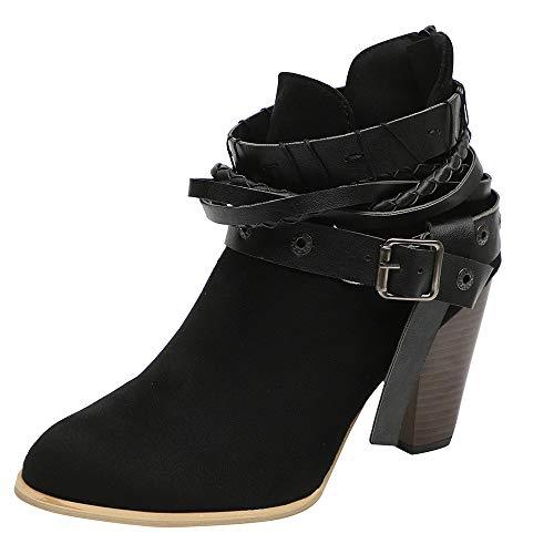 - Caopixx Boots for Women Ankle Boots Ladies Winter Dress Boots Zipper High Heels Martin Shoes (A-Black, US:9)