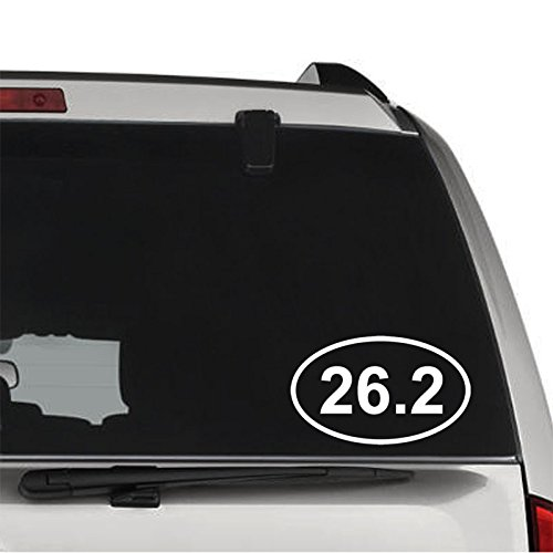Marathon Oval 26.2 Runner (26.2 Miles Oval Marathon Runner Running REMOVABLE Vinyl Decal Sticker For Laptop Tablet Helmet Windows Wall Decor Car Truck Motorcycle - Size (20 Inch / 50 Cm Wide) - Color (Matte Black))