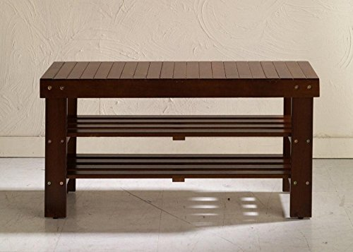 Durable Solid Wood Strong construction Slat Design Cherry Shoe Bench by Roundhill Furniture