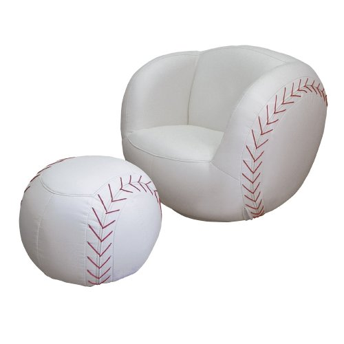 ORE International Baseball Vinyl Swivel Chair and Ottoman