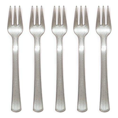 Creative Converting 24 Count Mini Glitter Forks, Glitz Silver